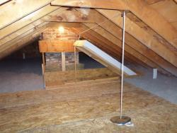Cellulose insulation & attic hatch at 23 Broad Cove Rd., Cape Elizabeth, ME