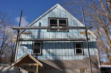 exterior insulation with staging horizontal