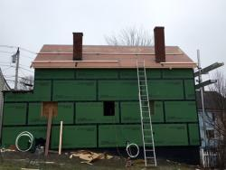 Finished roof decking by King Pine Homes for a retrofit job done on Fox Street in Portland, ME