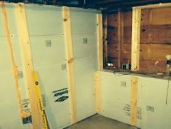 Rigid foam insulation in basement at 23 Broad Cove Rd. home, Cape Elizabeth, ME