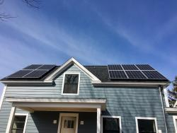 Solar array installed on a home on Fox Street in Portland, ME
